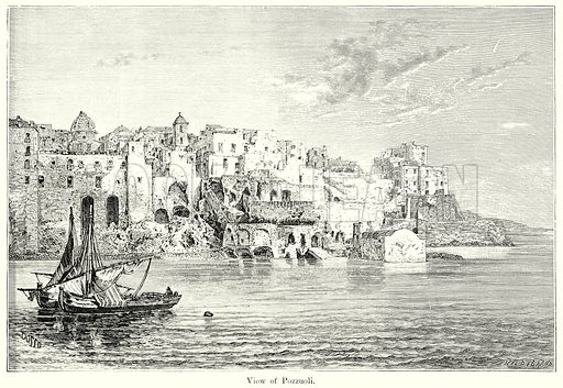 View of Pozzuoli. Illustration from History of Rome by Victor Duruy (Kegan Paul, Trench & Co, 1884).