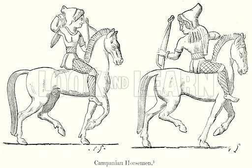 Campanian Horsemen. Illustration from History of Rome by Victor Duruy (Kegan Paul, Trench & Co, 1884).