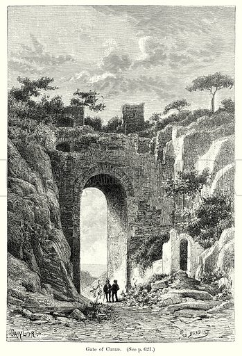 Gate of Cumae. Illustration from History of Rome by Victor Duruy (Kegan Paul, Trench & Co, 1884).