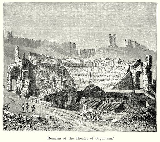 Remains of the Theatre of Sagentum. Illustration from History of Rome by Victor Duruy (Kegan Paul, Trench & Co, 1884).