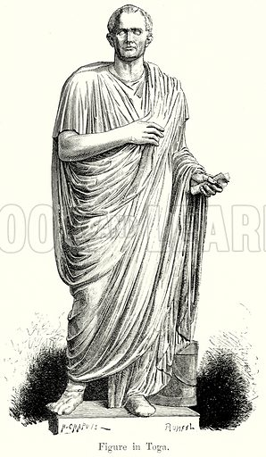 Figure in Toga. Illustration from History of Rome by Victor Duruy (Kegan Paul, Trench & Co, 1884).