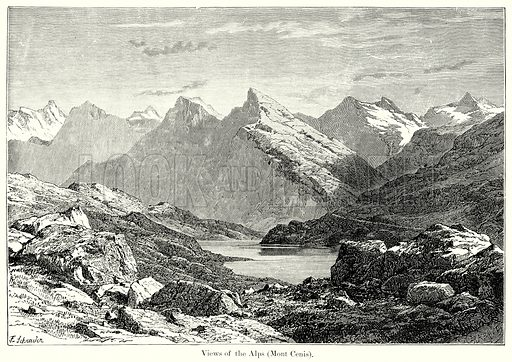 Views of the Alps (Monte Cenis). Illustration from History of Rome by Victor Duruy (Kegan Paul, Trench & Co, 1884).