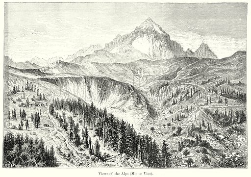 Views of the Alps (Monte Viso). Illustration from History of Rome by Victor Duruy (Kegan Paul, Trench & Co, 1884).