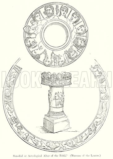 Sun-Dial or Astrological Altar of the Fabii. (Museum of the Louvre.) Illustration from History of Rome by Victor Duruy (Kegan Paul, Trench & Co, 1884).