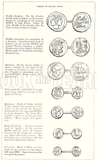 Series of Silver Coins. Illustration from History of Rome by Victor Duruy (Kegan Paul, Trench & Co, 1884).