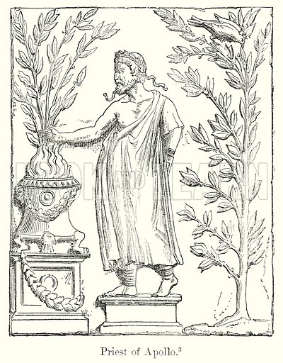 Priest of Apollo. Illustration from History of Rome by Victor Duruy (Kegan Paul, Trench & Co, 1884).