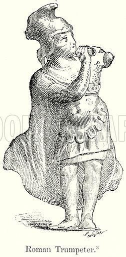 Roman Trumpeter. Illustration from History of Rome by Victor Duruy (Kegan Paul, Trench & Co, 1884).