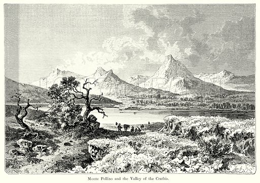 Monte Pollino and the Valley of the Crathis. Illustration from History of Rome by Victor Duruy (Kegan Paul, Trench & Co, 1884).