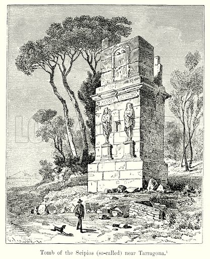 Tomb of the Scipios (So-Called) near Tarragona. Illustration from History of Rome by Victor Duruy (Kegan Paul, Trench & Co, 1884).