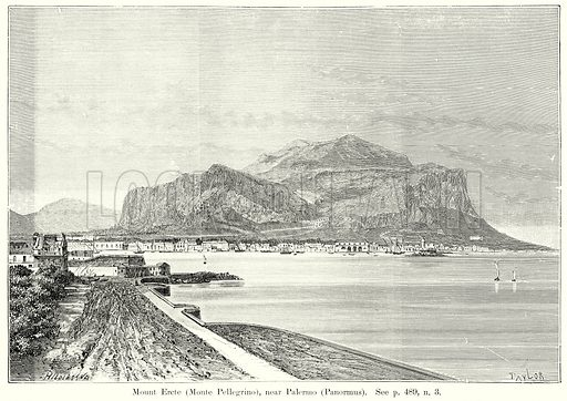 Mount Ercte (Monte Pellegrino), near Palermo (Panormus). Illustration from History of Rome by Victor Duruy (Kegan Paul, Trench & Co, 1884).