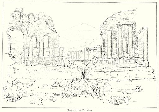 Teatro Greco, Taormina. Illustration from History of Rome by Victor Duruy (Kegan Paul, Trench & Co, 1884).