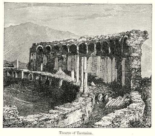 Theatre of Taormina. Illustration from History of Rome by Victor Duruy (Kegan Paul, Trench & Co, 1884).