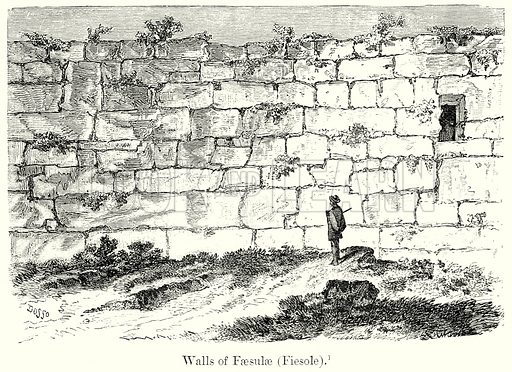 Walls of Faesulae (Fiesole). Illustration from History of Rome by Victor Duruy (Kegan Paul, Trench & Co, 1884).
