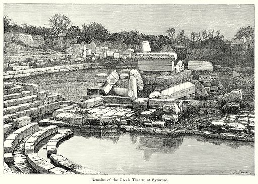 Remains of the Greek Theatre at Syracuse. Illustration from History of Rome by Victor Duruy (Kegan Paul, Trench & Co, 1884).