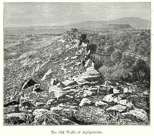 The Old Walls of Agrigentum. Illustration from History of Rome by Victor Duruy (Kegan Paul, Trench & Co, 1884).