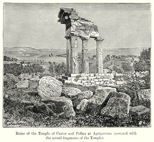 Ruins of the Temple of Castor and Pollux at Agrigentum (Restored with the Actual Fragments of the Temple). Illustration from History of Rome by Victor Duruy (Kegan Paul, Trench & Co, 1884).