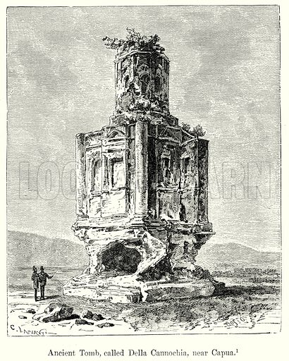 Ancient Tomb, called Della Cannochia, near Capua. Illustration from History of Rome by Victor Duruy (Kegan Paul, Trench & Co, 1884).