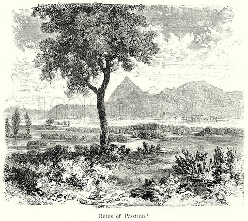 Ruins of Paestum. Illustration from History of Rome by Victor Duruy (Kegan Paul, Trench & Co, 1884).