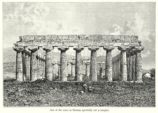One of the ruins at Paestum (Probably not a Temple). Illustration from History of Rome by Victor Duruy (Kegan Paul, Trench & Co, 1884).