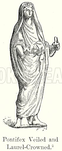 Pontifex Veiled and Laurel-Crowned. Illustration from History of Rome by Victor Duruy (Kegan Paul, Trench & Co, 1884).