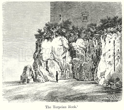 The Tarpeian Rock. Illustration from History of Rome by Victor Duruy (Kegan Paul, Trench & Co, 1884).