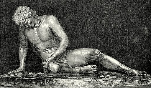 Wounded Gaul. Illustration from History of Rome by Victor Duruy (Kegan Paul, Trench & Co, 1884).