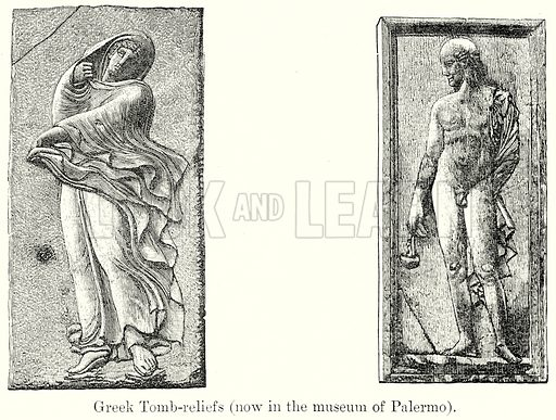 Greek Tomb-Reliefs. Illustration from History of Rome by Victor Duruy (Kegan Paul, Trench & Co, 1884).