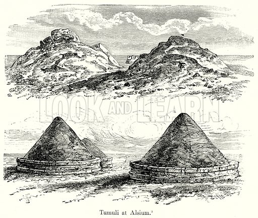 Tumuli at Alsium. Illustration from History of Rome by Victor Duruy (Kegan Paul, Trench & Co, 1884).
