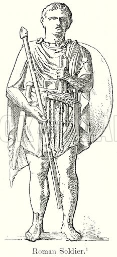 Roman Soldier. Illustration from History of Rome by Victor Duruy (Kegan Paul, Trench & Co, 1884).