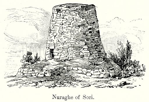 Nuraghe of Sori. Illustration from History of Rome by Victor Duruy (Kegan Paul, Trench & Co, 1884).