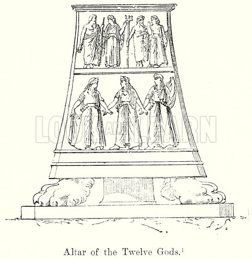 Altar of the Twelve Gods. Illustration from History of Rome by Victor Duruy (Kegan Paul, Trench & Co, 1884).