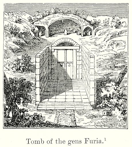 Tomb of the Gens Furia. Illustration from History of Rome by Victor Duruy (Kegan Paul, Trench & Co, 1884).