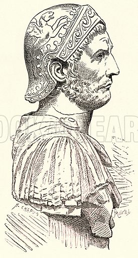 Hannibal. Illustration from History of Rome by Victor Duruy (Kegan Paul, Trench & Co, 1884).