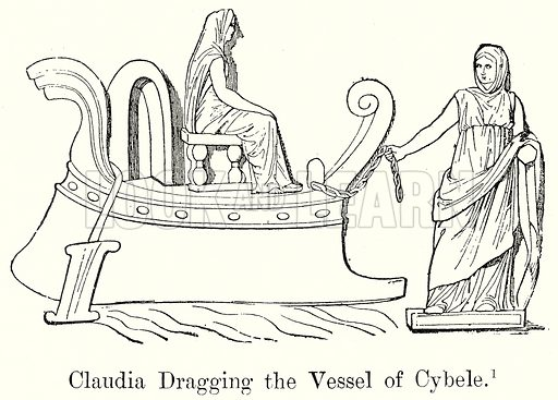 Claudia Dragging the Vessel of Cybele. Illustration from History of Rome by Victor Duruy (Kegan Paul, Trench & Co, 1884).