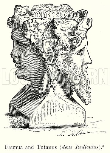Faunus and Tutanus (Deus Rediculus). Illustration from History of Rome by Victor Duruy (Kegan Paul, Trench & Co, 1884).
