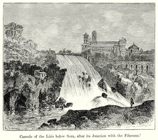 Cascade of the Liris below Sora, after its Junction with the Fibrenus. Illustration from History of Rome by Victor Duruy (Kegan Paul, Trench & Co, 1884).