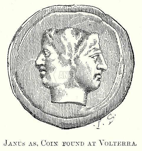 Janus as, Coin found at Volterra. Illustration from History of Rome by Victor Duruy (Kegan Paul, Trench & Co, 1884).