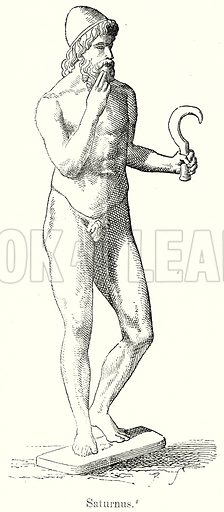 Saturnus. Illustration from History of Rome by Victor Duruy (Kegan Paul, Trench & Co, 1884).