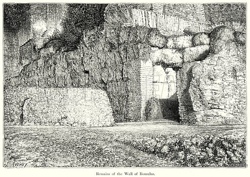 Remains of the Wall of Romulus. Illustration from History of Rome by Victor Duruy (Kegan Paul, Trench & Co, 1884).
