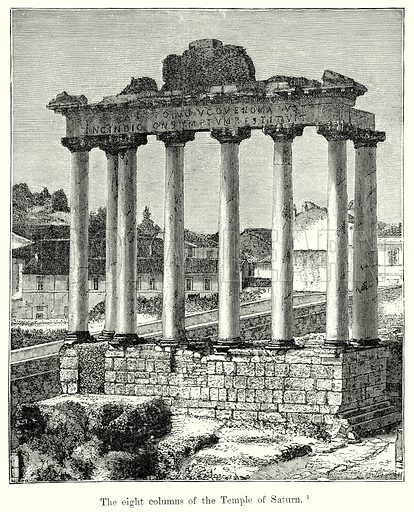The Eight Columns of the Temple of Saturn. Illustration from History of Rome by Victor Duruy (Kegan Paul, Trench & Co, 1884).