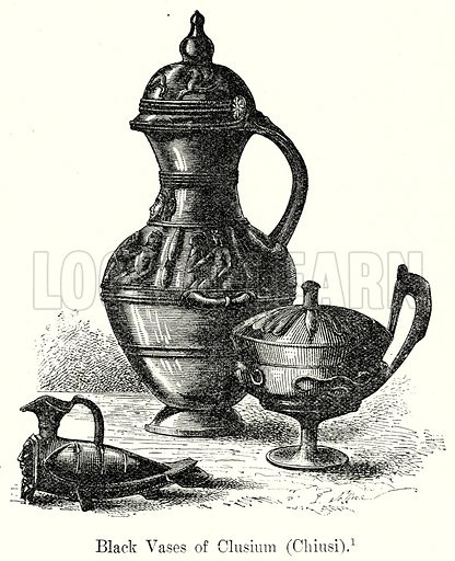 Black Vases of Clusium (Chiusi). Illustration from History of Rome by Victor Duruy (Kegan Paul, Trench & Co, 1884).
