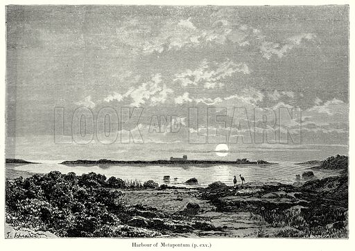 Harbour of Metapontum. Illustration from History of Rome by Victor Duruy (Kegan Paul, Trench & Co, 1884).