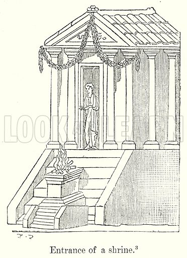 Entrance of a Shrine. Illustration from History of Rome by Victor Duruy (Kegan Paul, Trench & Co, 1884).