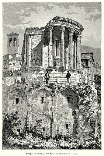 Temple of Vesta, of the Sybil or Hercules, at Tivoli. Illustration from History of Rome by Victor Duruy (Kegan Paul, Trench & Co, 1884).