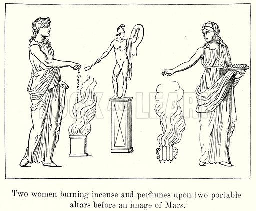 Two Women burning incense and perfumes upon two portable Altars before an Image of Mars. Illustration from History of Rome by Victor Duruy (Kegan Paul, Trench & Co, 1884).