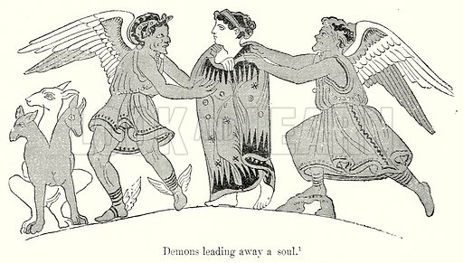 Demons leading away a soul. Illustration from History of Rome by Victor Duruy (Kegan Paul, Trench & Co, 1884).