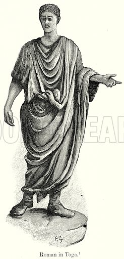 Roman in Toga. Illustration from History of Rome by Victor Duruy (Kegan Paul, Trench & Co, 1884).