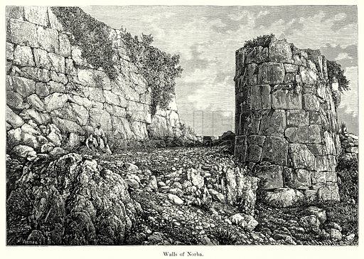 Walls of Norba. Illustration from History of Rome by Victor Duruy (Kegan Paul, Trench & Co, 1884).