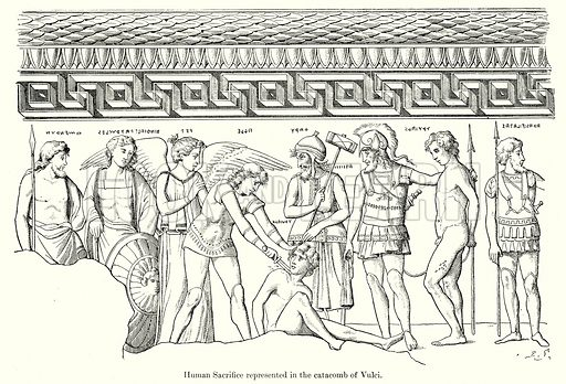 Human Sacrifice represented in the Catacomb of Vulci. Illustration from History of Rome by Victor Duruy (Kegan Paul, Trench & Co, 1884).