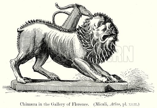 Chimaera in the Gallery of Florence. Illustration from History of Rome by Victor Duruy (Kegan Paul, Trench & Co, 1884).